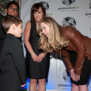 Chelsea Clinton speaks with Zachary Morgan of Watson, Louisiana, at the generationOn 2013 Make Your Mark Awards in New York City